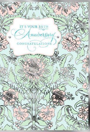 Flower Pattern 35th Anniversary Card