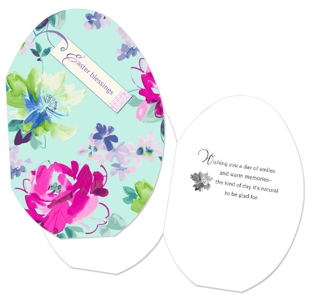 Floral Easter Eggs Easter Cards, Pack of 6