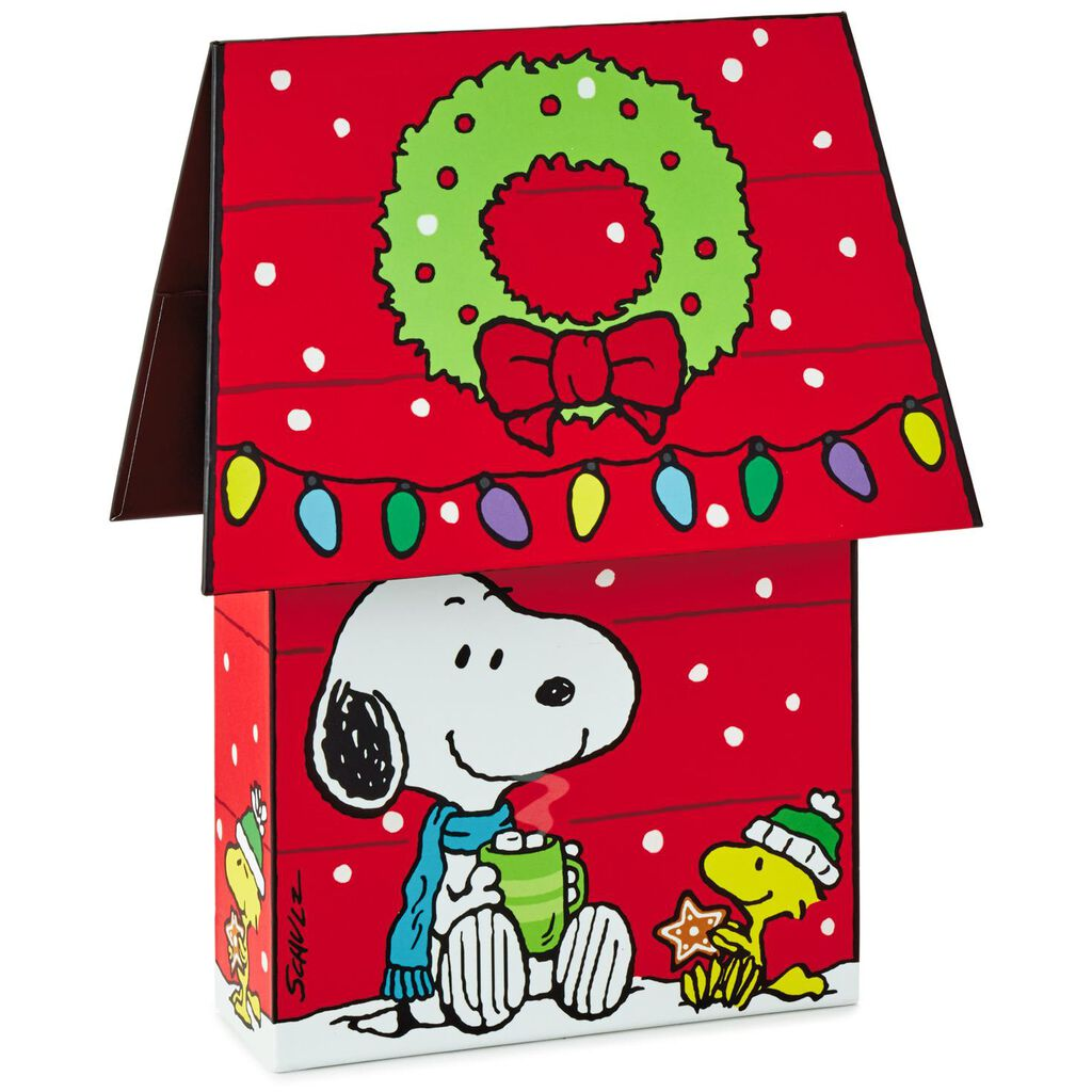 Snoopy Christmas Cards.Peanuts Snoopy Dog House Christmas Cards With Decorated Storage Box Box Of 16
