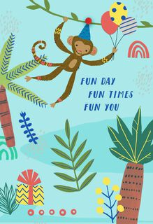 Monkey in the Jungle Birthday Card,