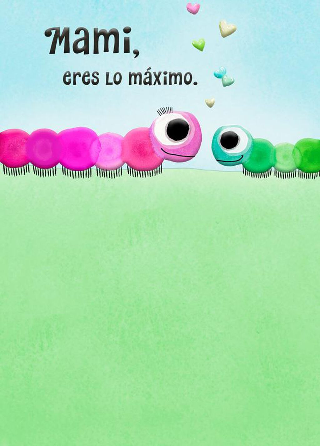 Caterpillar Love Spanish Language Birthday Card For Mom