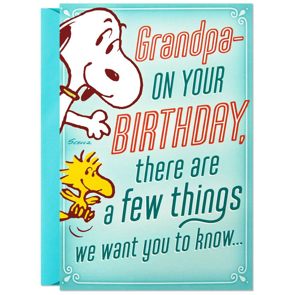 PeanutsR Snoopy We Love You Birthday Card For Grandpa