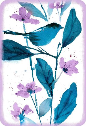 Blue Bird and Purple Flowers Blank Card