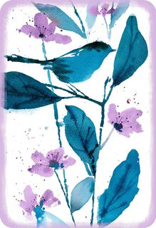 Blue Bird and Purple Flowers Blank Card,