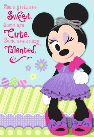 Minnie Mouse Spiffy Easter Card for Girls