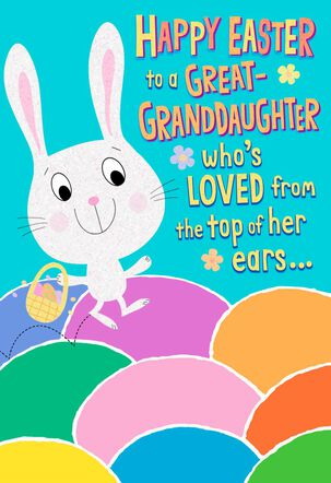 Great-Granddaughter Colorful Eggs Easter Card