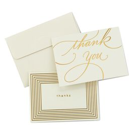 Gold Borders Thank You Notes, Pack of 50, , large