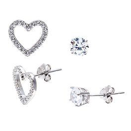 Heart Stud Earring Set in Sterling Silver, Set of 2, , large