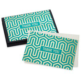 Teal Blue Geometric Thank You Notes, Pack of 10, , large