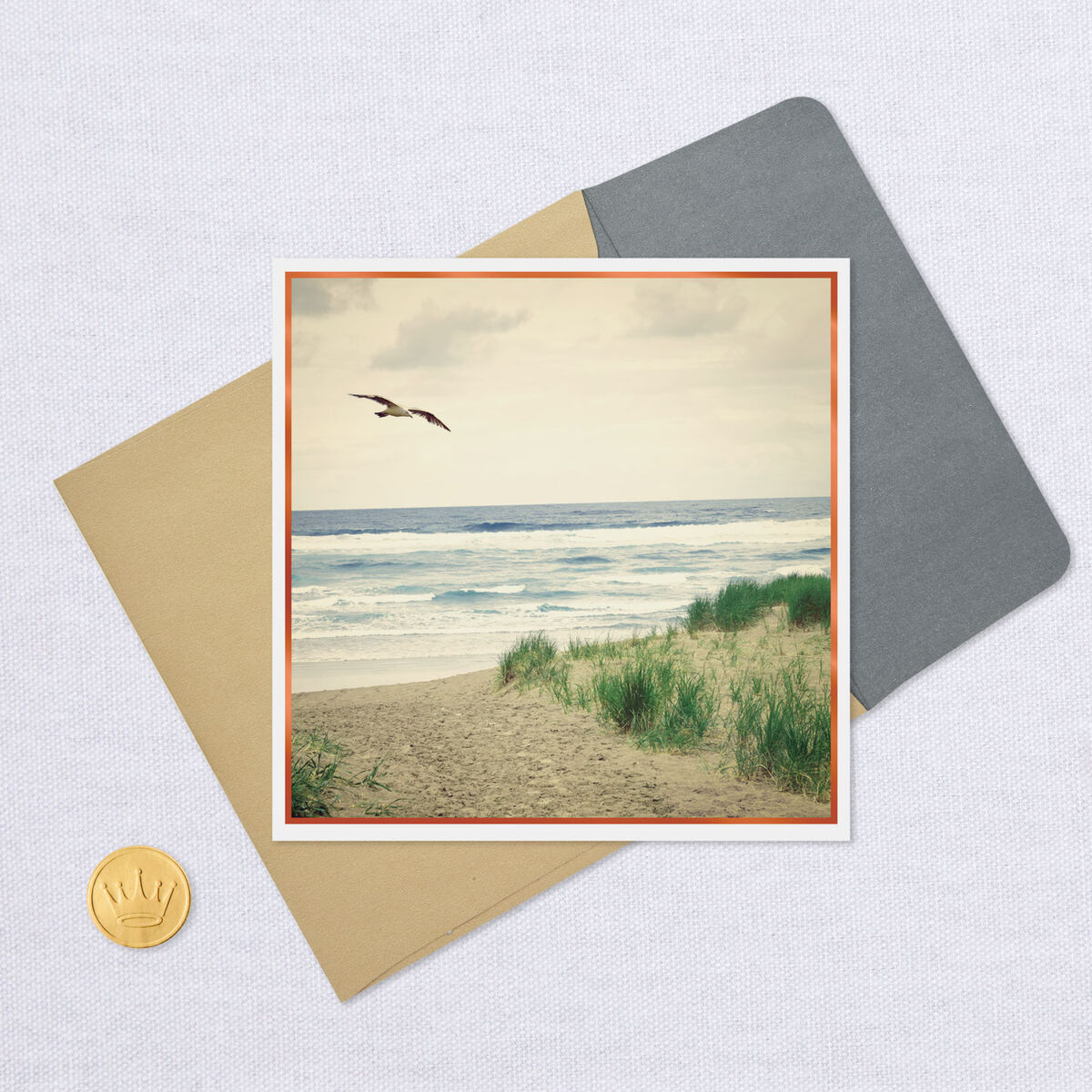 seagull flying over ocean blank card  greeting cards
