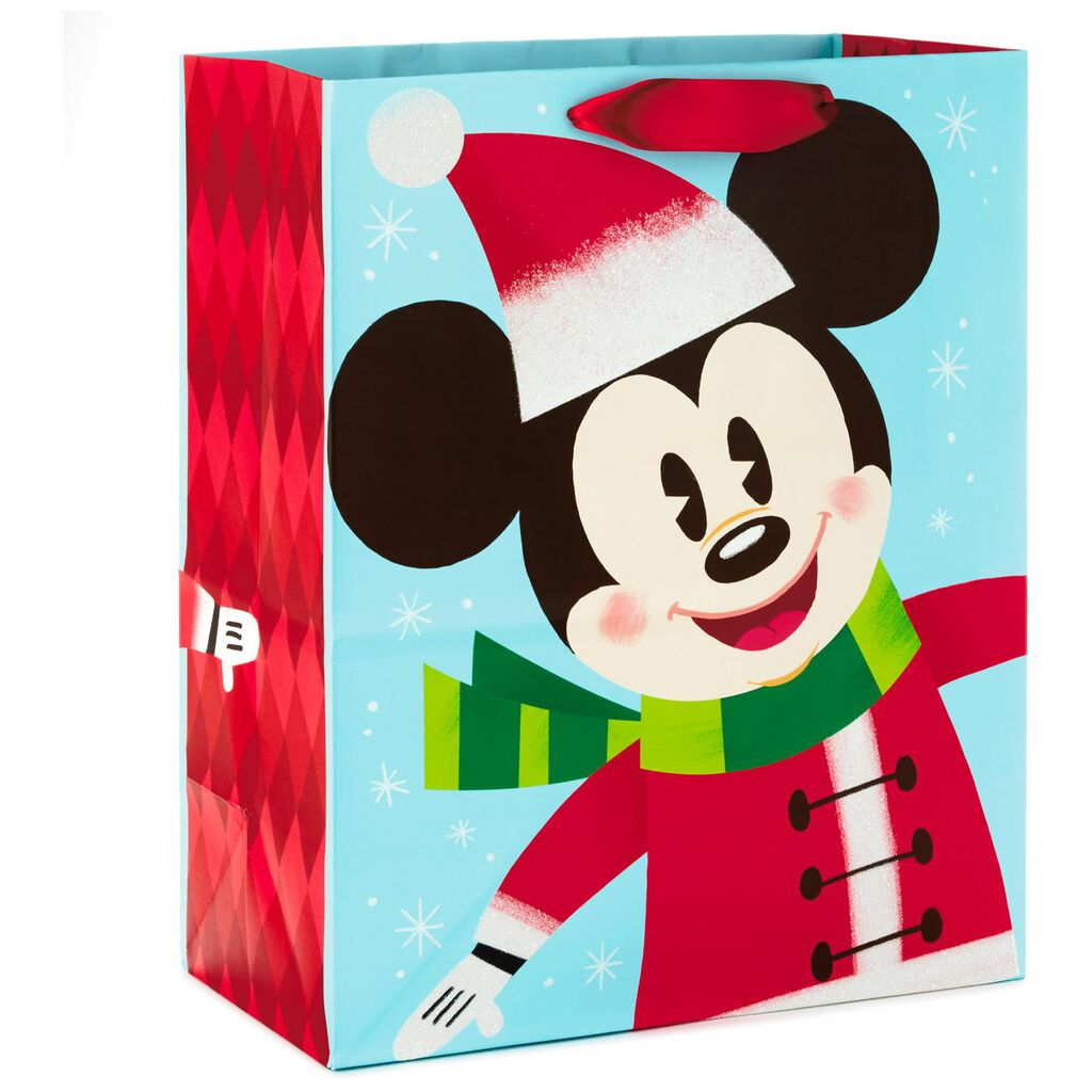Disney Mickey Mouse In Santa Hat Large Christmas Gift Bag
