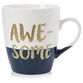 """Awesome"" Jumbo Glitter Mug, 25 oz.,"