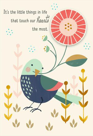 Bird With Flower Thank You Card
