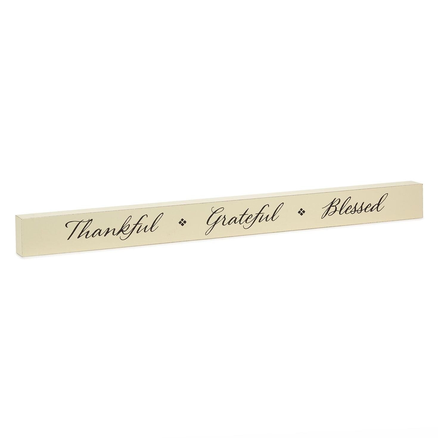 Thankful Grateful Blessed Wood Quote Sign 23 5x2 Plaques Signs Hallmark