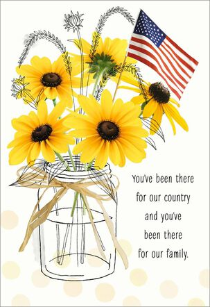 Sunflowers in Jar With Flag Veterans Day Card