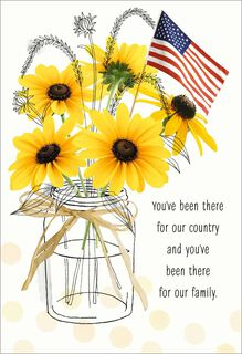Sunflowers in Jar With Flag Veterans Day Card,