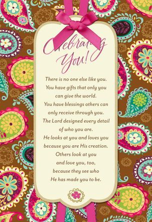 Bright Paisley Pattern Religious Birthday Card for Her