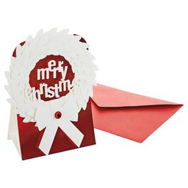 3-D White Wreath Christmas Cards, Box of 5, , large
