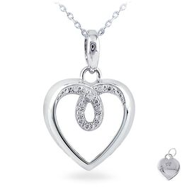 Diamond Accent Heart Necklace in Sterling Silver, , large