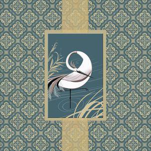 Heron in Water Blank Card