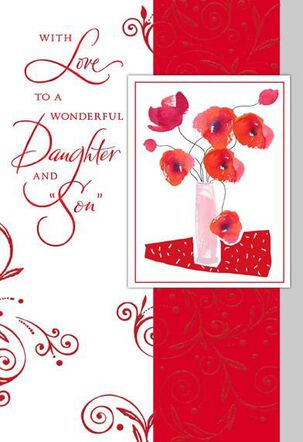Vase of Red Flowers Valentine's Day Card