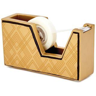 Classic Metallic Gold Geometric Tape Dispenser,