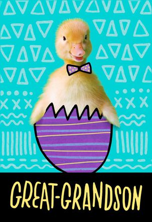 Great-Grandson Duck in Egg Easter Card