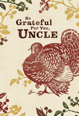 Embossed Turkey Thanksgiving Card for Uncle