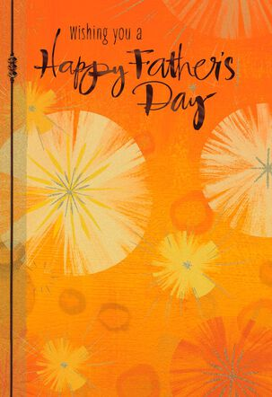 Starbursts on Orange Father's Day Card