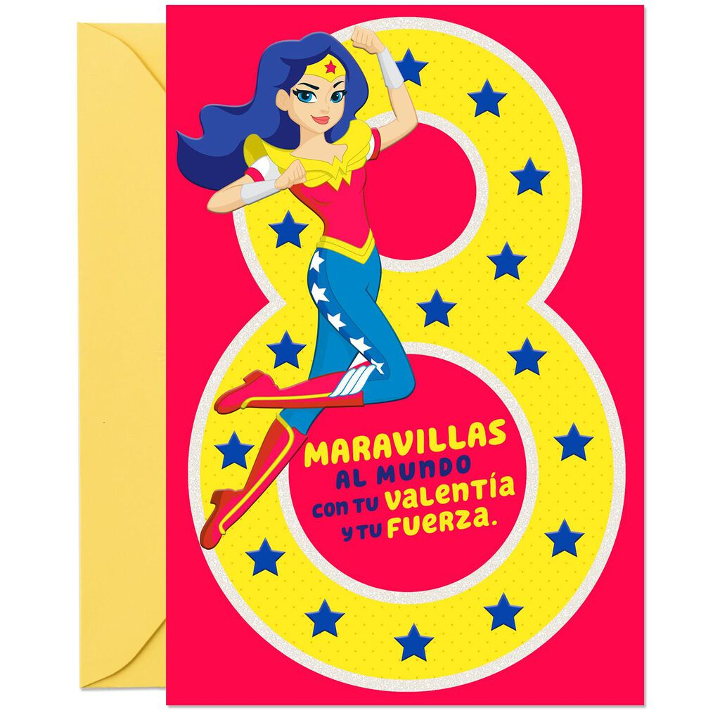 DC Super Hero GirlsTM Wonder WomanTM Spanish Language 8th Birthday Card With Stickers