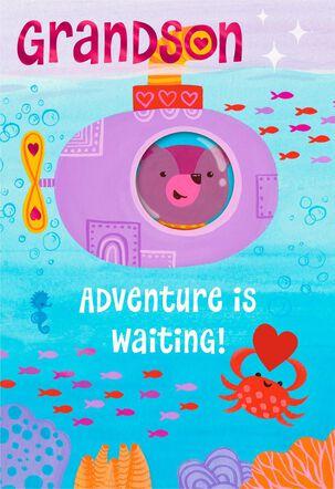 Bear in Submarine Valentine's Day Card for Grandson