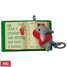 Mouse With Book A Creature Was Stirring Mini Ornament, , large
