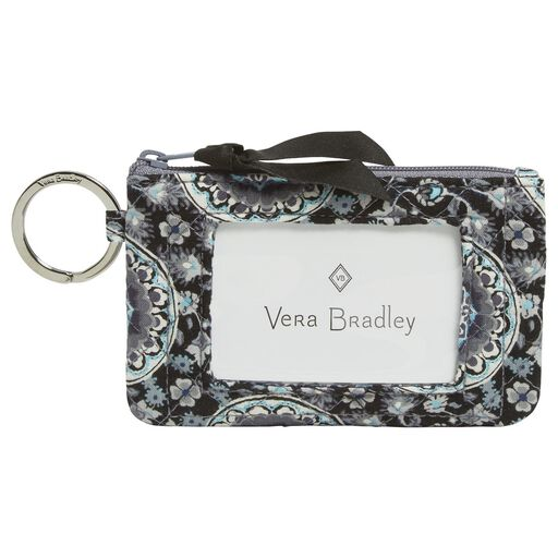 Vera Bradley Iconic Zip Id Case In Charcoal Medallion