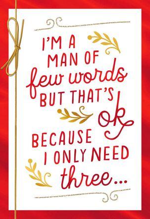 Three Little Words Valentine's Day Card