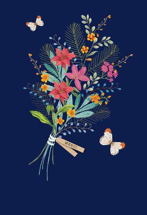 Merci Bouquet Blank Thank You Card