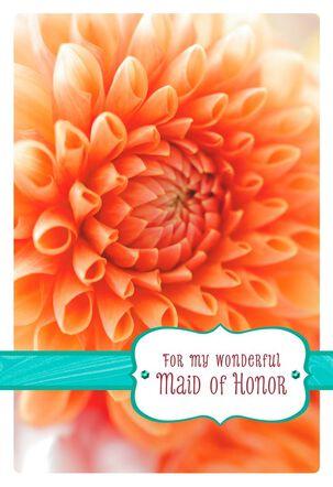 Orange Dahlia Maid of Honor Thank You Card