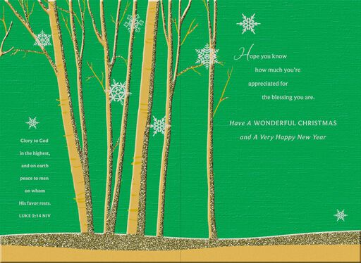 Gold Trees Religious Christmas Card,