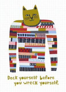 Kitty Holiday Sweater Blank Christmas Card,