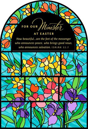 Stained Glass Window Religious Easter Card for Minister