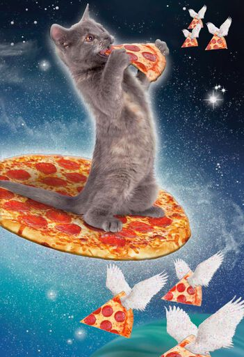 Cosmic Cat And Pizza Funny Birthday Card