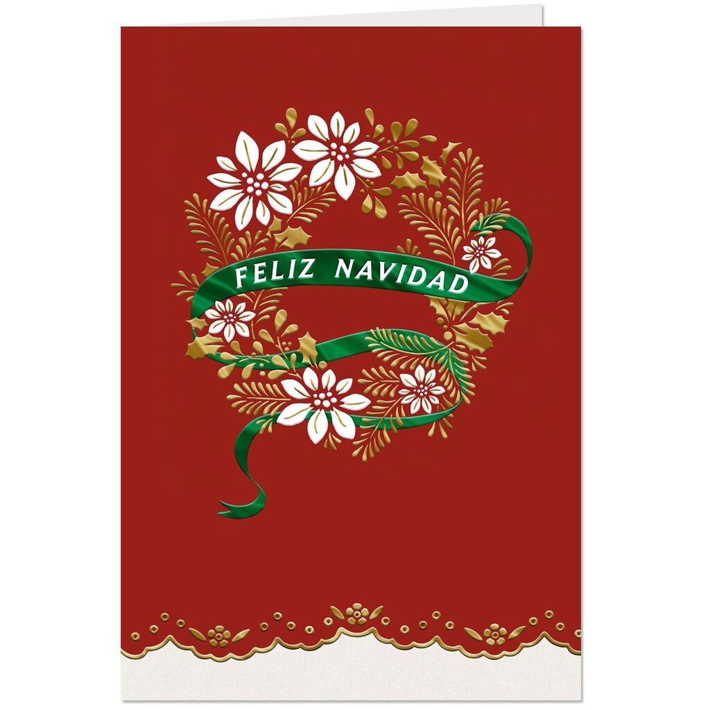 Feliz Navidad Wreath Spanish Language Christmas Card Greeting