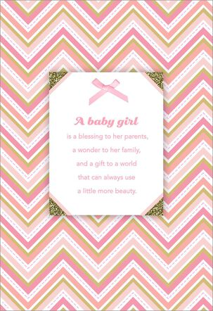 Pink Chevron New Baby Girl Card