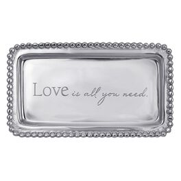 "Love Is All You Need Silver Aluminum Trinket Tray, 6.75"", , large"