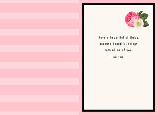 Pink Flower Blooms Birthday Card For Stepdaughter