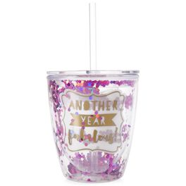 """""""Another Fabulous Year"""" Confetti Double Wall Stemless Wine Glass, 10 oz., , large"""