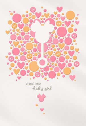 Minnie Mouse Rattle New Baby Girl Card