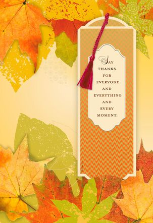 Thanks for Everyone and Everything Thanksgiving Card With Bookmark