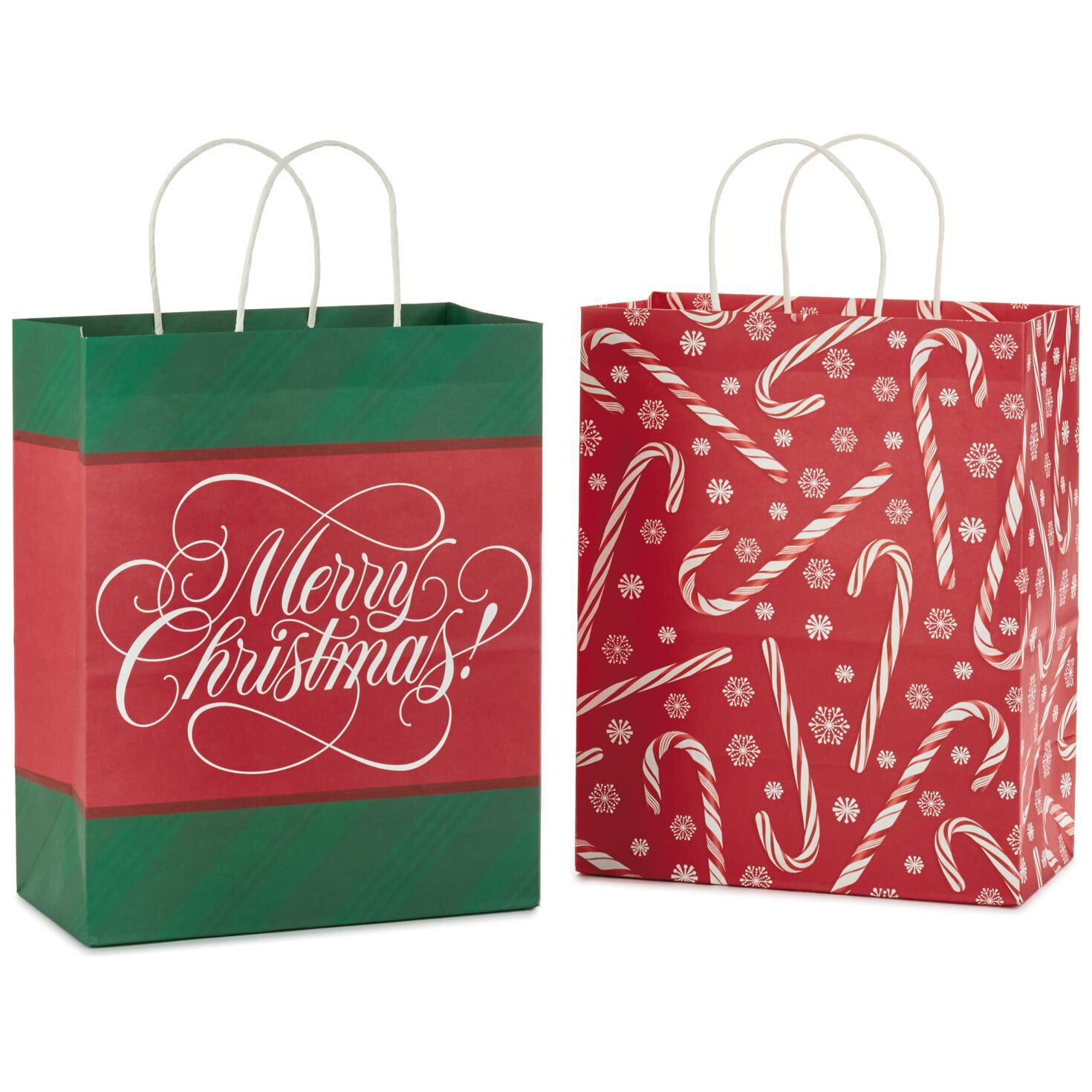 Merry christmas and candy canes large christmas gift bags pack of merry christmas and candy canes large christmas gift bags pack of 2 gift bags hallmark negle Choice Image
