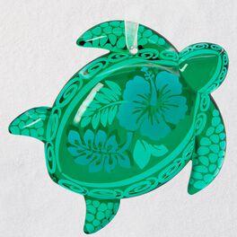 Honu Glass Green Sea Turtle Ornament, , large
