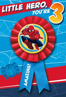 SPIDER-MAN 3rd Birthday Card With Wearable Ribbon,